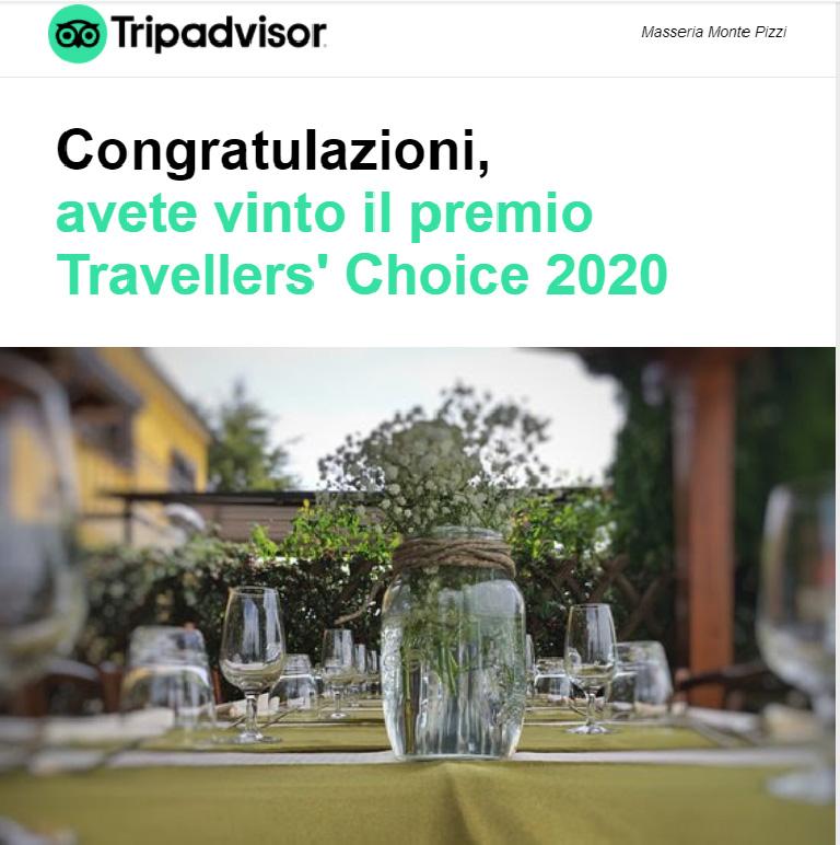 il riconoscimento di Tripadvisor per la Masseria Monte Pizzi